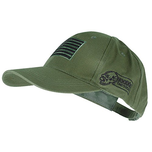 Voodoo Tactical 20-9353 Contractor Baseball Cap w/ Sewn on Flag Patch, Olive Drab (Glock Hat Camo)