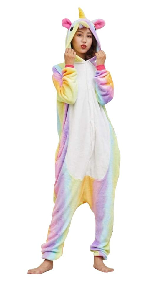 OLadydress Unisex Unicorn Costumes Pyjamas, Adult Women Men Animal Cosplay Onesie (S, Colored)