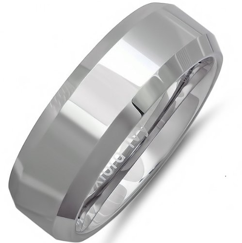 Oxford Ivy 8mm Beveled Edge Comfort Fit Tungsten Carbide Wedding Band (Available Ring Sizes 7-12 1/2) sz 9 1/2 (Comfort Fit Tungsten Carbide)