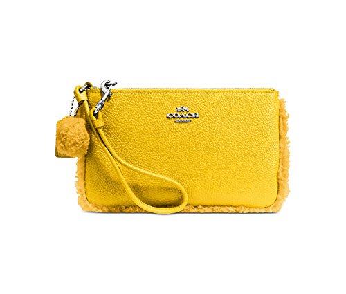 (Coach Shearling Small Leather Wristlet Faux Fur Pom Pom Trim Banana Yellow New)