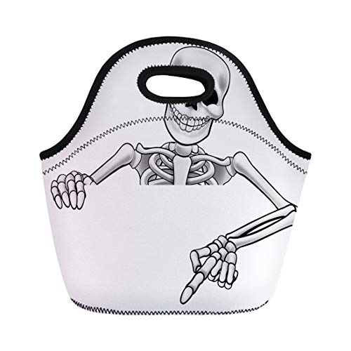 (Semtomn Lunch Tote Bag Pointing Skeleton Halloween Cartoon Character Peeking Over Sign Reusable Neoprene Insulated Thermal Outdoor Picnic Lunchbox for Men)