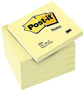 Post-it 654 Canary Yellow - Bloc notas,  100 hojas/bloc en packs de 6 blocs