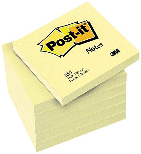 Post-it 654Y6 Haftnotiz Promotion, 76 x 76 mm, 70 g/qm, 100 Blatt, 6 Block, gelb - in weiteren Größen verfügbar