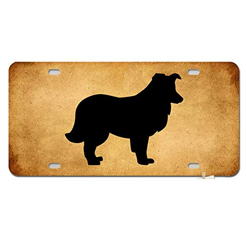 Plate for Front of Car Decoration - Custom for Auto Car Tag Sign 12 x 6 Inch - Shetland Sheepdog Silhouette ()