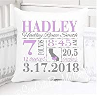 """Birth Announcement Pillow for Baby Girls Nursery with Birth City and State - Includes Personalized Pillowcase and Pillow Insert - Lavender and Grey 14"""" x 14"""" or 16"""" x 16"""""""