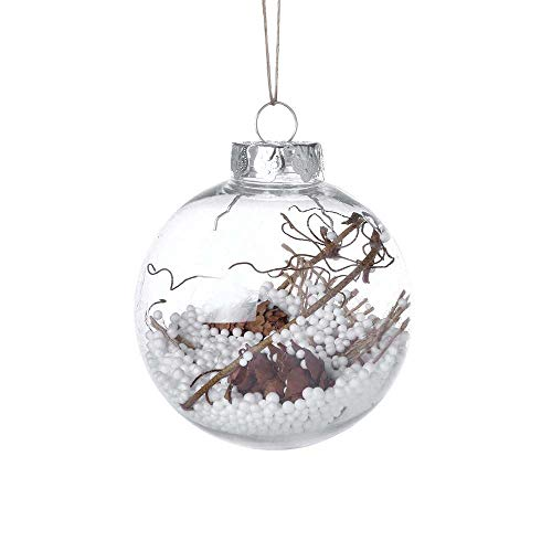 (3.1'' Shatterproof Christmas Balls Clear Christmas Balls with Stuffed Pine Cone Berry Xmas Tree Hanging Ornament for Christmas Decor 1PC (E))