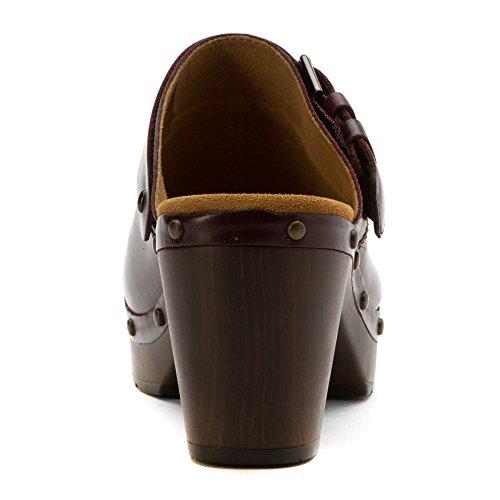 Clarks Ledella York Zueco Aubergine Leather