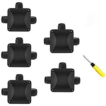 Junction Box, 5Pcs Waterproof IP68 Cable Connector, Larger 3-Way External Electrical Junction Box Ø 5.5mm-10.2mm (1 PCS Screwdriver)
