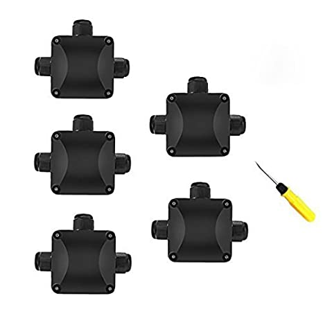 Junction Box, 5Pcs Waterproof IP68 Cable Connector, Larger 3-Way External Electrical Junction Box Ø 5.5mm-10.2mm (1 PCS Screwdriver) SILIVN