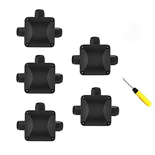 Junction Box, 5Pcs Waterproof IP68 Cable Connector, Larger 3-Way External Electrical Junction Box  5.5mm-10.2mm (1 PCS Screwdriver)