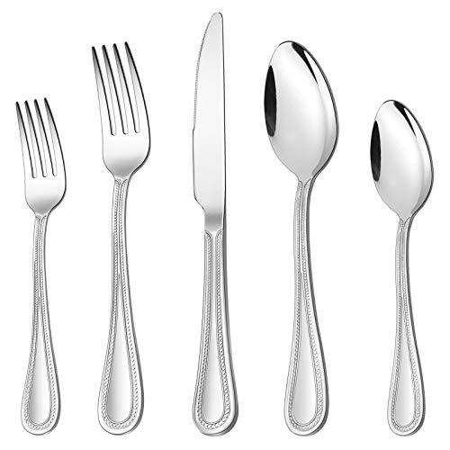 40-Piece Silverware Set, HaWare Stainless Steel Flatware Service for 8, Pearled Edge Tableware Cutlery Include Knife…