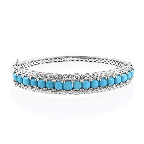 Silver Platinum Plated Square Sleeping Beauty Turquoise Bangle Cuff Bracelet for Women 7.25