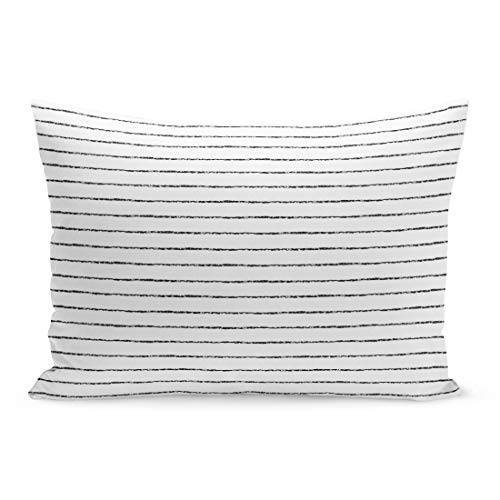 (Semtomn Throw Pillow Covers Watercolor Pinstripe Brush Stripes Thin Black on White Striped Monochrome Rough Pillow Case Cushion Cover Lumbar Pillowcase for Couch Sofa 20 x 26 inchs)