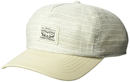 Levi's Men's Denim Striped Baseball Camp Hat with Woven Patch, Grey, One Size ()