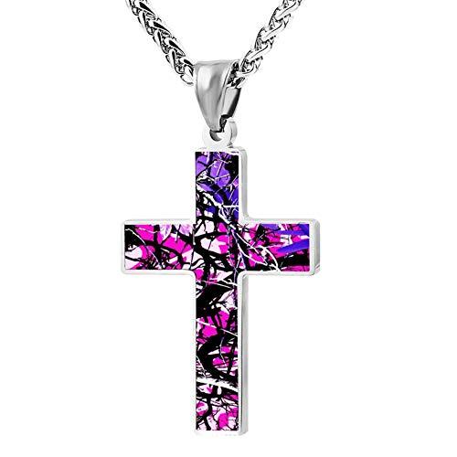 Custume Jake-Paul Pink-Camo Cross Necklace Pendant Crucifix Prayer Chain Fashion Ornaments -