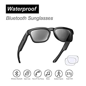 d0cd6b5231 Waterproof Audio Sunglasses, Fashionable Over Ear Bluetooth Headset to  Listen Music and Make Phone Calls, with Polarized UV400 Protection Safety  ...