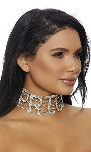Forplay Women's Pricey Rhinestone Choker, Silver, O/S - Forplay Rhinestone Necklace