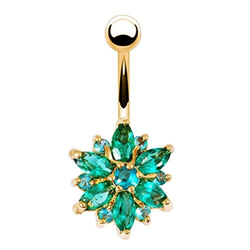 Phoenix b2c Sanwood Beautiful Flower Cubic Zirconia Belly Button Bar Barbell Navel Ring Body Piercing Jewelry (Golden + Green) ()