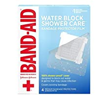 Band-aid Brand First Aid Shower Care Clear Bandage Protector 100% Shower Proof, Medium-Sized, 4 Count (Pack of 24)
