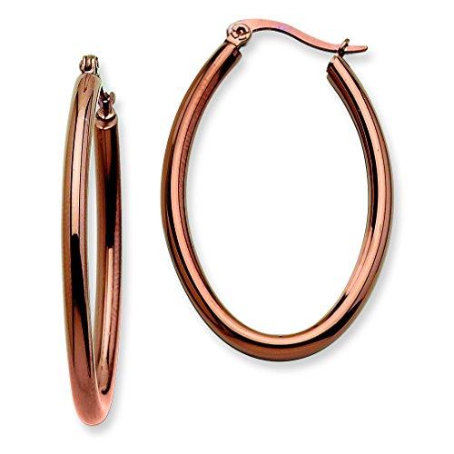 Stainless Steel Chocolate Plated 40mm Oval Hoop Earrings