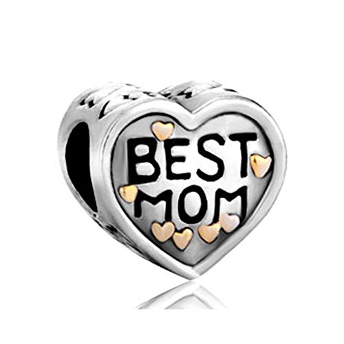 ReisJewelry Mom Charm Heart Love Mothers Day Charms Bead for Bracelets (Gold Plated)