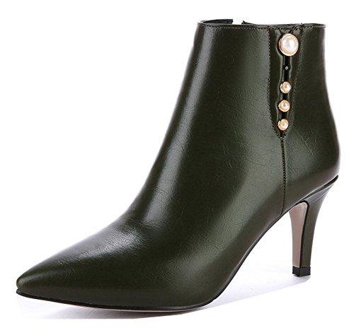 Aisun Kvinna Elegant Pärlstav Spetsiga Tå Tossor Dressat Inuti Zip Högt Stilett Klack Boots Med Dragkedja Oliv