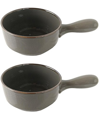 Chefcaptain Stoneware French Onion Soup Crock Chili Bowls with Handles Large 24 Ounces Set Of Two (GRAY) (Beef Glaze)