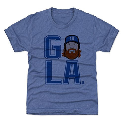 500 LEVEL Los Angeles Baseball Youth Shirt - Kids X-Large (14-16Y) Tri Royal - Justin Turner GO LA - Turners 14