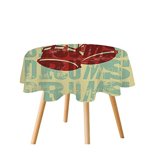 Vintage Decor Polyester Round Tablecloth,Groovy Drumming Poster Design Percussion Rock Music Instrument Play Vibe Hit for Home Restaurant,31.4
