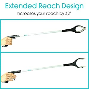 """Vive Reacher Grabber - 32"""" Extra Long Mobility Aid - Rotating Hand, Heavy Duty Grip Arm - Reaching Assist Tool for Trash Pickup, Litter Picker, Garden Nabber, Disabled, Handicap Arm Extension"""