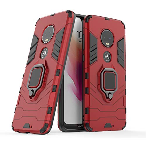 1962 Bumper - Moto G7 Plus Case, Moto G7 Case, Futanwei Double Layer 2 in 1 Anti-Fall Armor Bumper Protective Case Fit Magnetic Car Mount with Rotating Ring for Motorola Moto G7/Moto G7 Plus Phone (2019), red