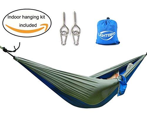 lightbird indoor outdoor hammock with indoor hammock hanging kit best nylon single orange gray. Black Bedroom Furniture Sets. Home Design Ideas