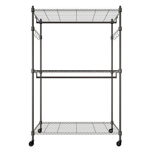 Leoneva 3-Tier Portable Clothes Wardrobe Garment Rack Home Closet Hanger Storage Organizer with Wheels, Double Rods and 2 Side Hooks