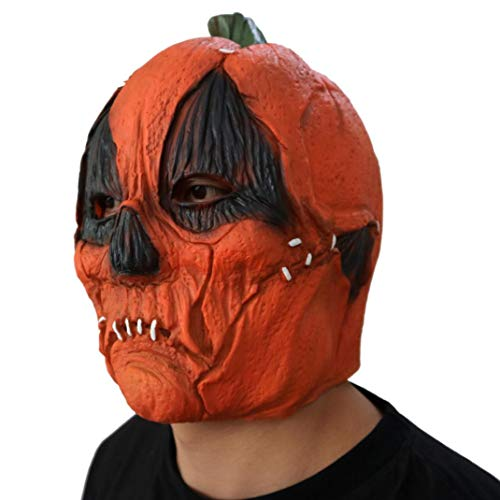 XILALU New Halloween Pumpkin Latex Head Mask, Deluxe Novelty Scary Theme Party Masquerade Costume Cosplay Props