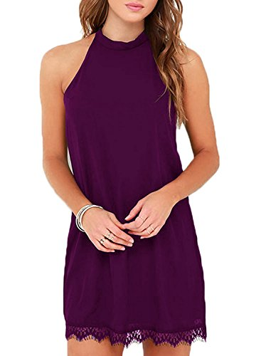 Fantaist Women's Halter Neck Sleeveless Lace Trim Loose Shift Mini Casual Dress (S, FT610-Purple)