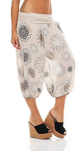 ZARMEXX Señoras 3/4 bombachos estilo Capri pantalones harén pantalones cortos de verano de yoga hasta la rodilla Aladin un tamaño Beige