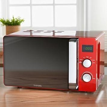 Stilvolle Goodmans Digital Mikrowelle 20l rot groß 20 Liter Kapazität groß 20 Liter pajee TM
