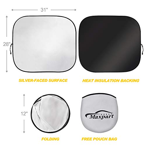 TWING Windshield Sun Shade 2-Piece Foldable Car Front Window Sunshades Sun Visor Protector Blocks 99% UV Rays and Keeps Your Vehicle Cool for Most Sedans SUV Truck 28\