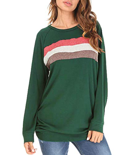 Women's Color Block Long Sleeve Loose Casual Crewneck Sweatshirt Tunic Tops Green M