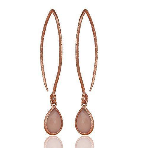 925 Sterling Silver Rose Gold Plated Dangle Earring Chalcedony Jewelry