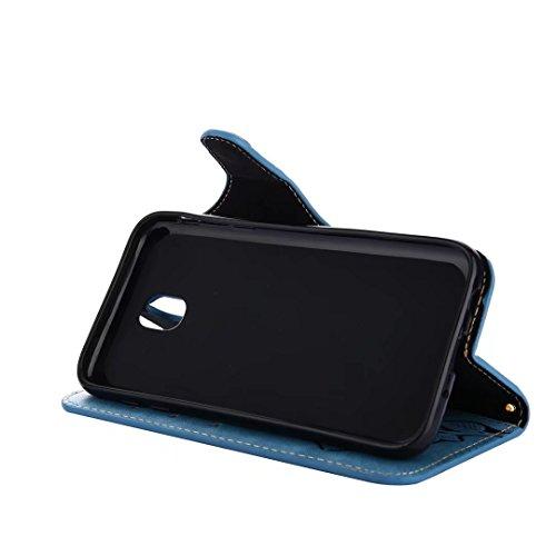 Hülle Samsung Galaxy J3 (2017) Handyhüllen, Ougger Fabric Design Tasche Leder Schutzhülle Bumper Schale Weich TPU Silikon Magnetisch-Stehen Beutel Flip Cover hülle Tasche Galaxy J3 (2017) / J330F mit  Blau