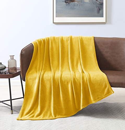 - Love's cabin Flannel Fleece Luxury Blanket Throw Size Yellow, Super Soft Double Side Warm Blanket, Cozy Microfiber All Season Blanket Couch