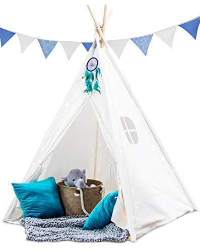 Crème Castle Teepee Tent for Kids - 100% Cotton Canvas Play Tent with Base - Fairy Lights & Dreamcatcher - Boys and Girls, Childrens Indoor / Outdoor Foldable Tipi Tents with Fun Decorations (White)
