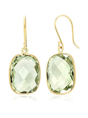 14K Yellow Gold Green Amethyst Cushion Checkerboard Cut Women's Earrings, 18.00 Ctw