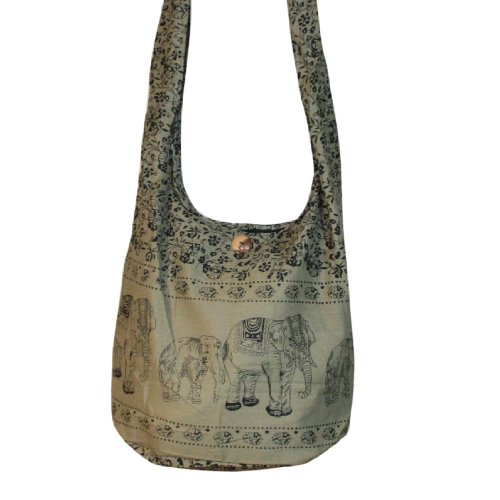 Hippie Elephant Sling Crossbody Bag Shoulder Bag Purse Thai Top Zip Handmade Color Khaki