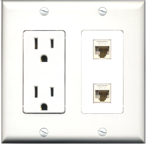 (RiteAV - 15 Amp Power Outlet 2 Port Cat6 Ethernet White Decorative Wall Plate)