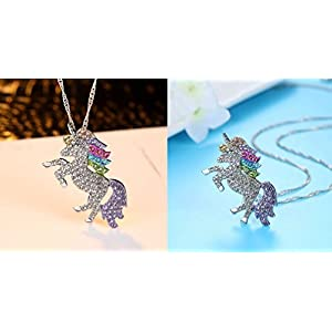 Mcgreen Crystal Unicorn Pendant Necklace Little Princess Rainbow Animal Necklace Gift for Girl Ladies