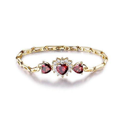 Grams Heart Bracelets - preeyanan Retro Heart Ruby Red Sapphire 18K Yellow Gold Filled Women Lady Banquet Bracelet