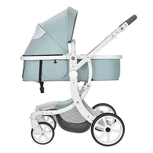 IGLZ 2 en 1 Cochecito de bebe Plegable portatil de Alto Campo de vision del Carro de bebe de 4 Ruedas amortiguadora de Golpes comodo Cochecito de Seguridad se Puede Utilizar en Ambos sentidos
