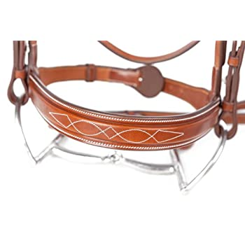 Image of Bridles & Accessories Huntley Equestrian Sedgwick Leather Fancy Stitched Square Raised Noseband (Noseband Only)